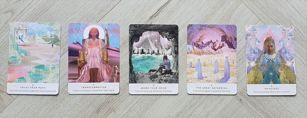 5 card spread from the Work Your Light Oracle Deck by Rebecca Campbell - Trust Your Path, Transformation, Shre Your Voice, The Great Gathering, Priestess