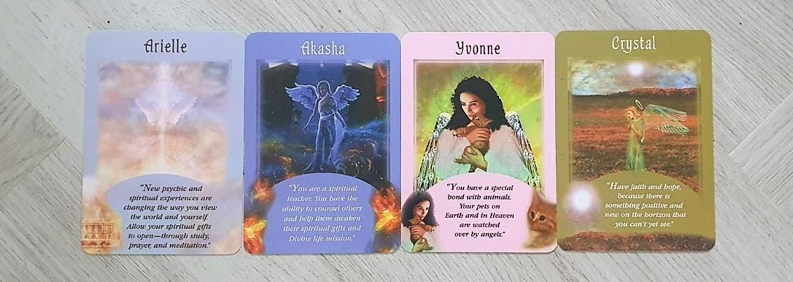 4 Card Spread of the cards Arielle, Akasha, Yvonne and Crystal